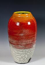 Glazed Raku Vessel in Red and Yellow by Frank Nemick (Ceramic Vessel)