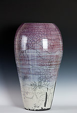 Glazed Raku Vessel in Purples and Lavenders by Frank Nemick (Ceramic Vessel)