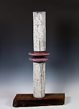Raku Tower by Frank Nemick (Ceramic Sculpture)
