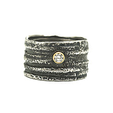 Rustic Diamond Band Ring by Jenny Foulkes (Gold, Silver & Stone Ring)
