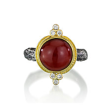 Hessonite Garnet and Diamond Ring by Jenny Foulkes (Gold & Stone Ring)