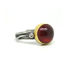 Hessonite Garnet and Diamond Ring II by Jenny Foulkes (Gold, Silver & Stone Ring)