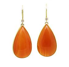 Carnelian and Diamond Earrings by Jenny Foulkes (Gold & Stone Earrings)
