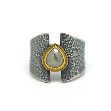 Raw Diamond Teardrop Ring by Jenny Foulkes (Jewelry Rings)