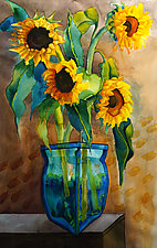Sunflowers in Blue Vase by Cathy Locke (Watercolor Painting)