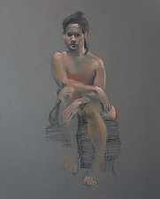 Woman on Gray by Cathy Locke (Pastel & Charcoal Drawing)
