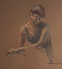 Lady in Brown by Cathy Locke (Pastel Drawing)