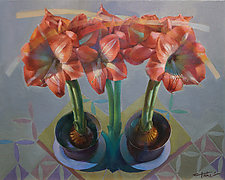 Amaryllis Duo by Cathy Locke (Oil Painting)