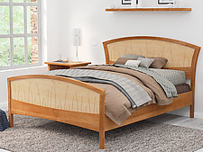 Cherry and Curly Maple River Rushes Bed by Nathan Hunter (Wood Bed)