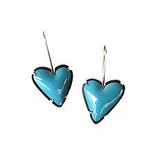 Asymmetrical Enamel Heart Earrings by Lisa Crowder (Silver & Enamel Earrings)