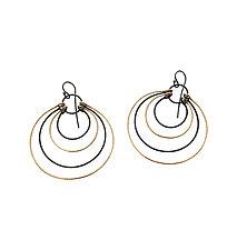 Multi Circle Hatch Earrings by Lisa Crowder (Gold & Silver Earrings)