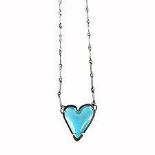 Asymmetrical Enamel Heart Necklace by Lisa Crowder (Silver & Enamel Necklace)