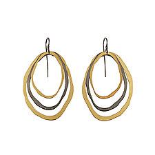 Elongated 3 Layer Rough Cut Earrings by Lisa Crowder (Gold & Silver Earrings)