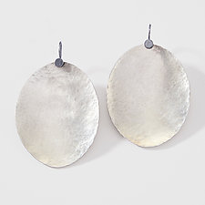 Fantastically Large Hammered Oval Earrings by Lisa Crowder (Silver Earrings)