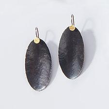 Long Hammered Oval Earrings by Lisa Crowder (Gold & Silver Earrings)
