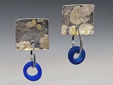 Beauty of a Blue Sky Earrings by Nina Mann (Gold & Silver Earrings)