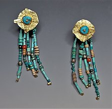 Going to the Sun Earrings by Nina Mann (Gold & Stone Earrings)