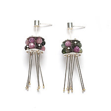 Jellyfish Earrings with Tourmaline by Ashka Dymel (Silver & Stone Earrings)