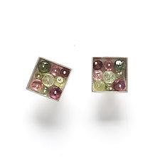 Square Earrings with Tourmaline Beads by Ashka Dymel (Silver & Stone Earrings)