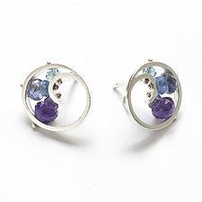 Mini Spiral Post Earrings by Ashka Dymel (Silver & Stone Earrings)