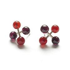 Jacks Earrings with Carnelian and Garnet by Ashka Dymel (Silver & Stone Earrings)