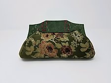 Millie Green Floral Lambskin Evening Bag by Michelle  LaLonde (Leather Purse)
