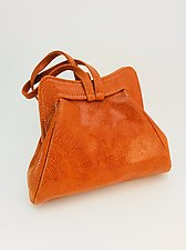 Halle Orange Wave Evening Bag by Michelle  LaLonde (Leather Purse)