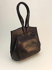 Elisa Dark Espresso Lambskin Evening Bag by Michelle  LaLonde (Leather Purse)