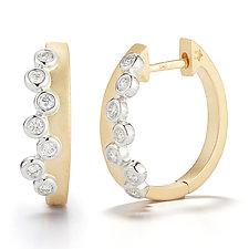 Scribble Cascade Huggie Earring by David  Melnick (Gold & Stone Earrings)