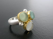 Sea Glass Bubble Ring by Amy Faust (Art Glass, Gold & Silver Ring)