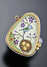 Bluebird Ring with Champagne Diamond by Ananda Khalsa (Gold, Silver & Stone Ring)