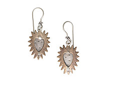 Pointy Heart Charm Earrings by Thomas Mann (Silver & Bronze Earrings)