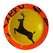 Deer X-Ing D. P. W.  Platter by Boris Bally (Metal Wall Art)