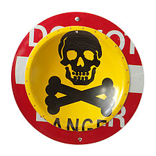 Danger D.P.W.  Platter by Boris Bally (Metal Wall Art)