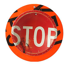 Stop Sign D.P.W. Platter by Boris Bally (Metal Wall Art)