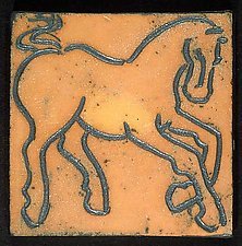 Prancing Horse, Earthenware by Jeri Hollister (Ceramic Wall Sculpture)