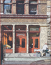 Soft City-Two Red Doors by Marilyn Henrion (Fiber Wall Hanging)