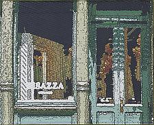 Soft City-Green Door by Marilyn Henrion (Fiber Wall Hanging)