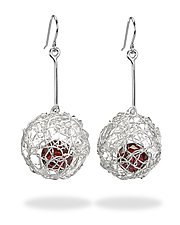 Woven Drop Ball Earrings by Gillian Batcher (Silver & Stone Earrings)