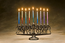 Dancing Rabbi Menorah by Scott Nelles (Metal Candleholders)