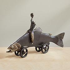 Trout Cowboy by Scott Nelles (Metal Sculpture)