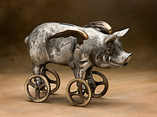 Flying Pig Coin Bank by Scott Nelles (Metal Bank)