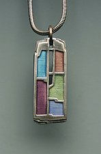 Crevasse Pendant No. 203 by Carly Wright (Silver & Enamel Necklace)