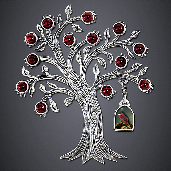Tanager and Pomegranate Brooch