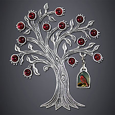 Tanager and Pomegranate Brooch by Dawn Estrin (Silver Brooch)