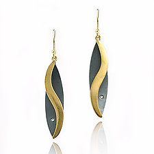 Moiré S-Shaped Leaf Earrings by Keiko Mita (Gold & Silver Earrings)