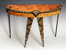 Art Deco Demilune by Ingela Noren and Daniel  Grant (Painted Wood Console Table)