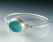Vintage Glass Bangle Bracelet by Amy Faust (Silver & Glass Bracelet)