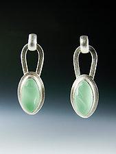 Leaf Tag Earrings by Amy Faust (Silver & Glass Earrings)