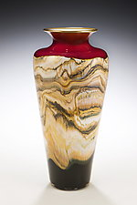 Ruby Strata Traditional Urn by Danielle Blade and Stephen Gartner (Art Glass Vase)